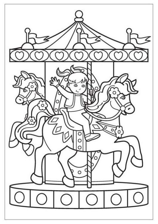 happy kid riding carousel coloring page