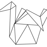 origami duck coloring pages for children