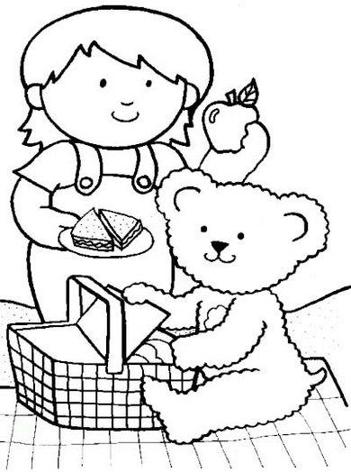 teddy bear preparing for picnic coloring sheet