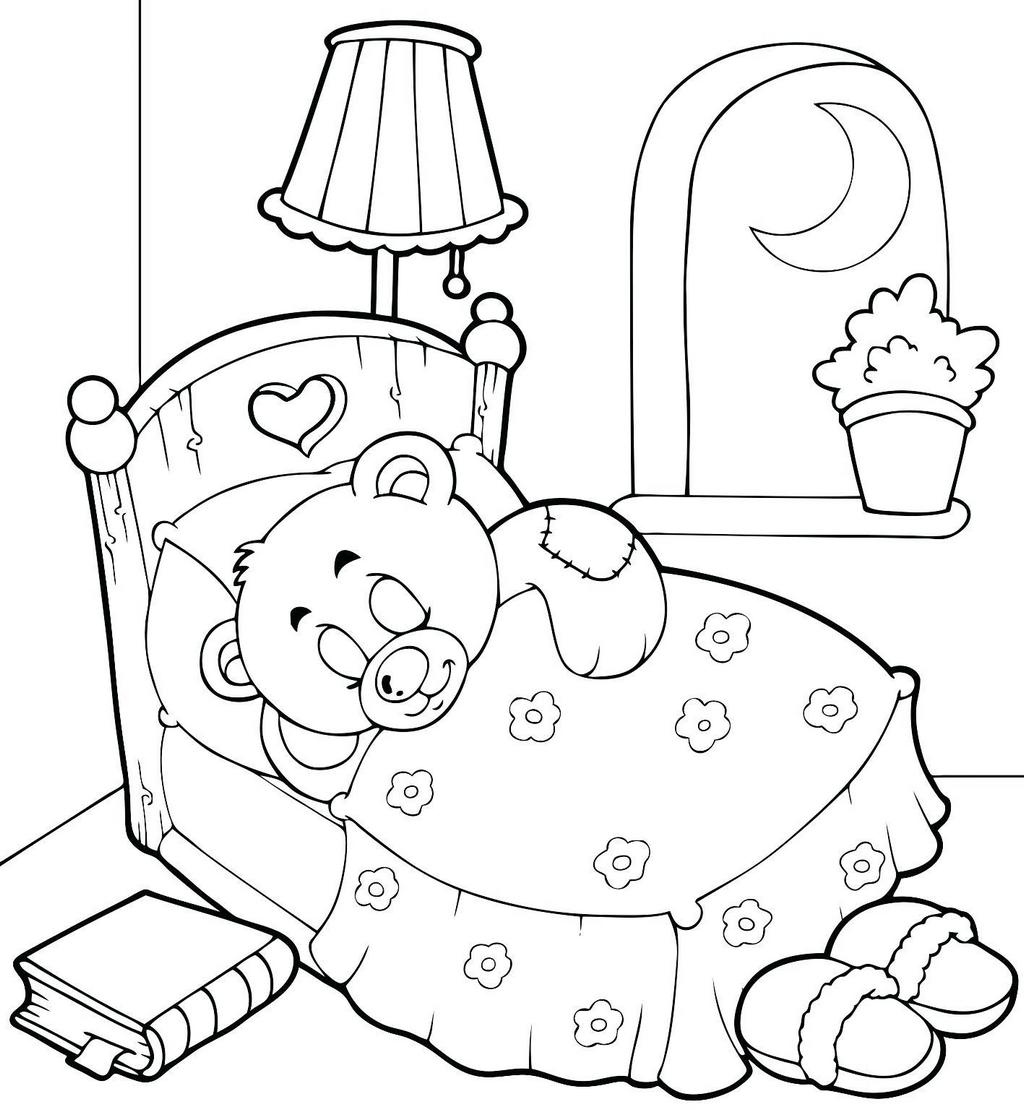 Teddy Bear Sleeping In The Beatiful Bedroom Coloring Page