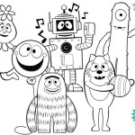 yo gabba gabba coloring sheet for young children ages 1 and up