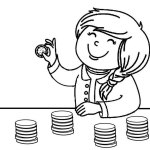 Cute Kid Counting Coin Coloring Pages