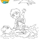 Diego at sea on the carapace of a sea turtle coloring page