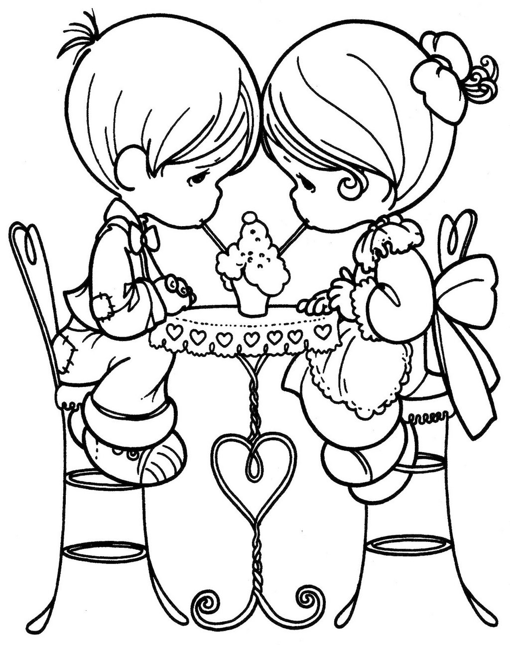 PRECIOUS MOMENTS Boy and Girl Sipping Ice Cream Coloring Page