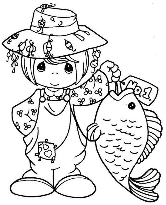 PRECIOUS MOMENTS Fishing Coloring Sheet