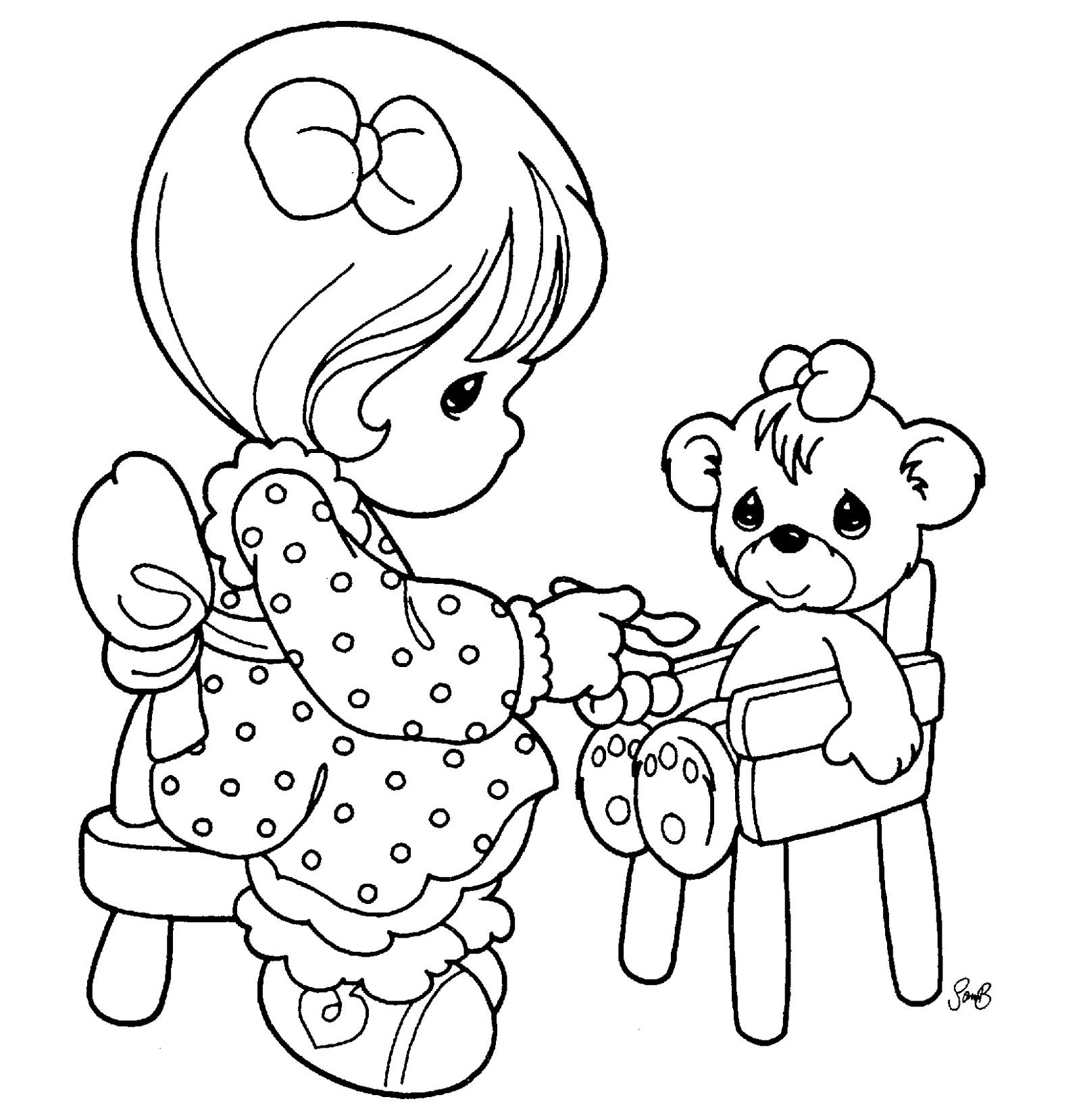 Precious Moments feeding Teddy Bear Coloring Page
