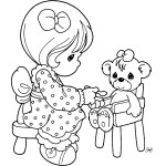 Precious Moments feeding Teddy Bear Coloring Page
