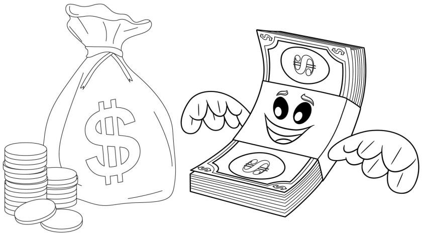 pretty fun money coloring page