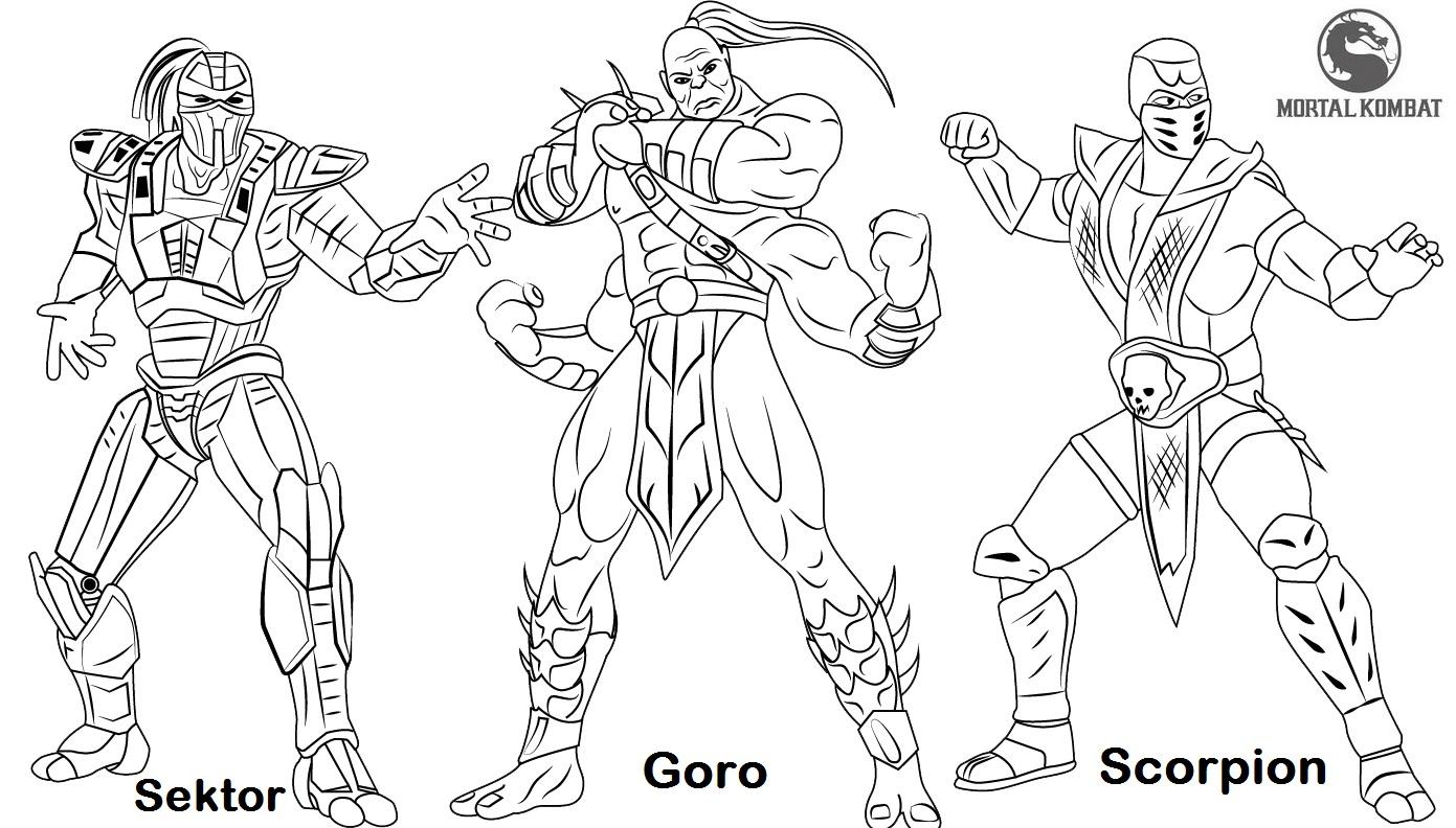 Sektor Goro and Scorpion from Mortal Kombat Coloring Page