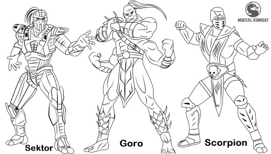 Sektor Goro and Scorpion from Mortal Kombat Coloring Page
