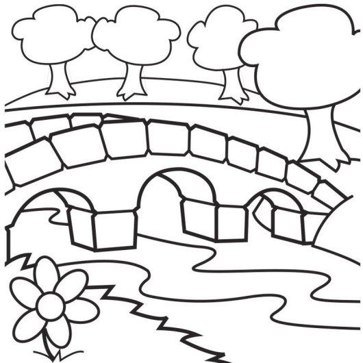 bridge garden coloring sheet