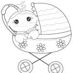 cute baby stroller carriage coloring page