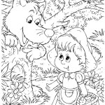 cute little red riding hood picking flowers watched by wolf coloring page