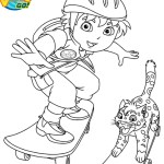 go diego go performing his skateboard coloring page