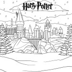 harry potter hogwarts castle in winter coloring page