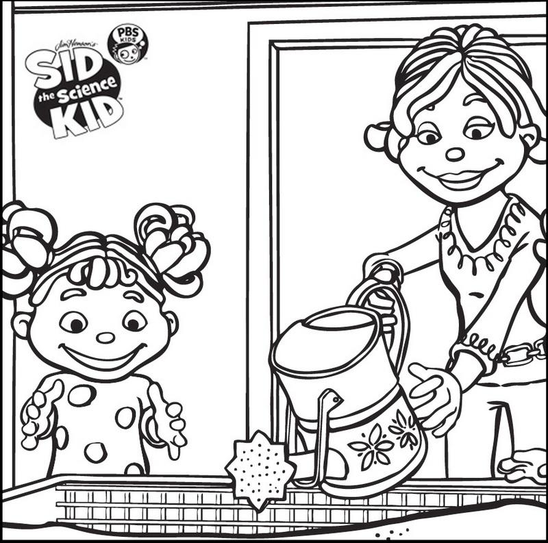 sid the science kid watering coloring sheet online