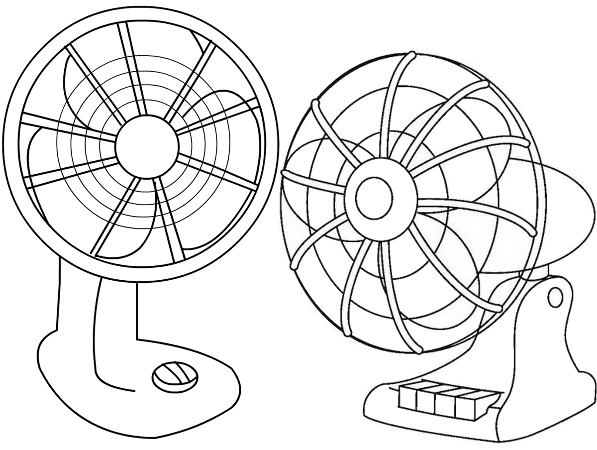 Table Fan Clipart Coloring Page