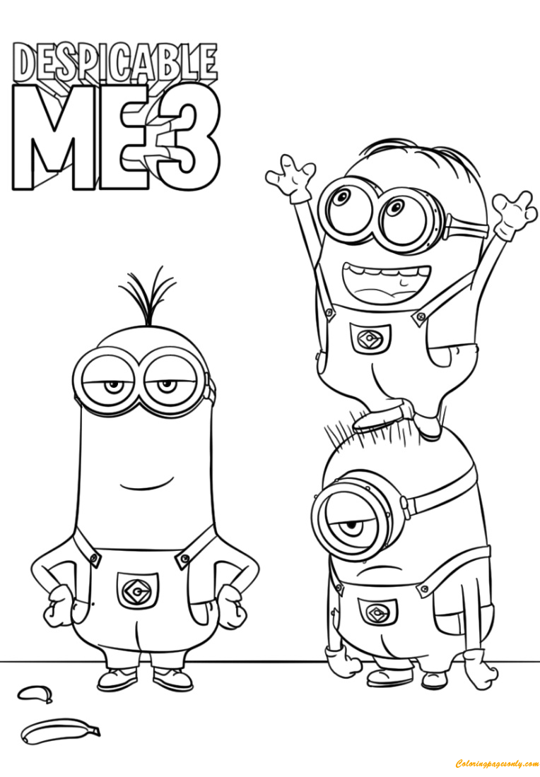 Despicable Me 3 Minions Coloring Page Free Coloring