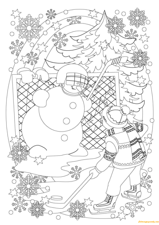 A Snowman and A Boy Play Hockey in Snowy Coloring Pages