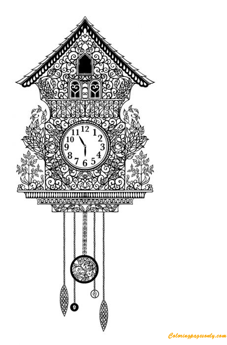 Antique Cuckoo Clock Coloring Page Free Coloring Pages