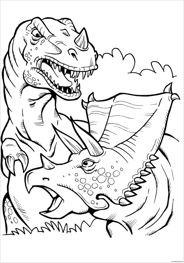Battle T Rex Coloring Pages - Dinosaurs Coloring Pages - Coloring