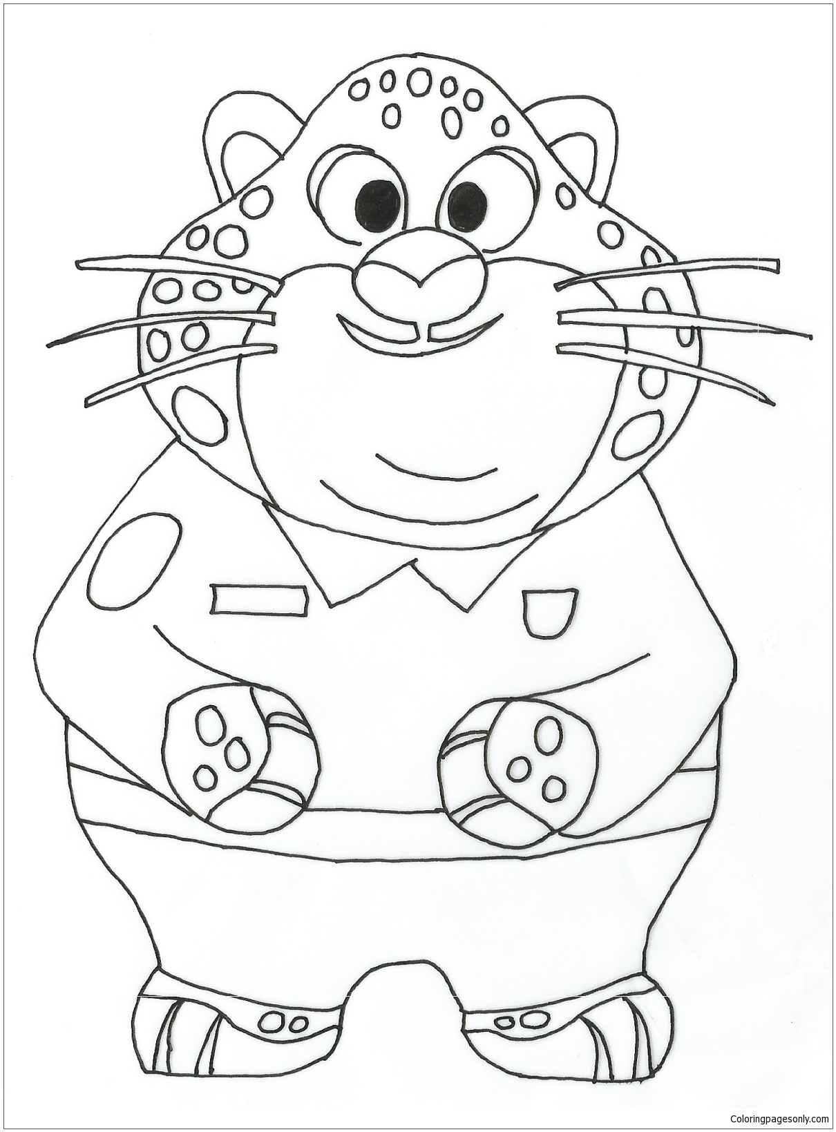 Benjamin Clawhauser Zootopia Coloring Page
