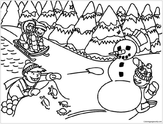 Best Kids Playing In Winter Coloring Pages - Nature & Seasons