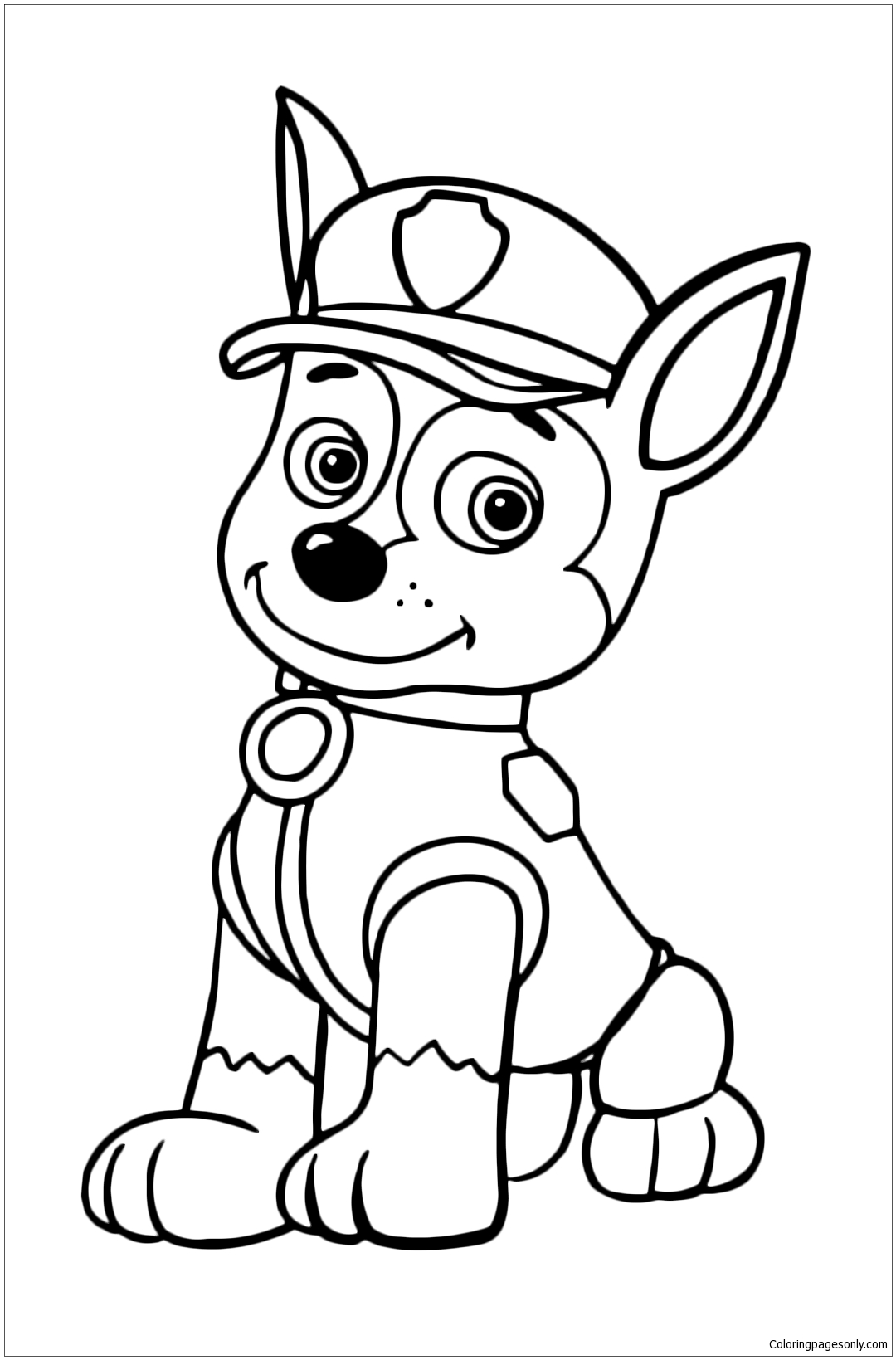 Chase The Police Dog Is Resting Sitting Coloring Page