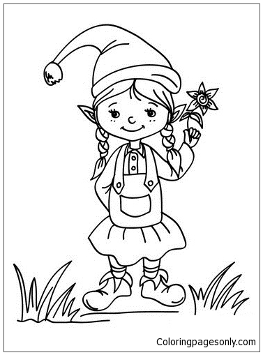 Christmas Girl Elf Coloring Page Free Coloring Pages Online