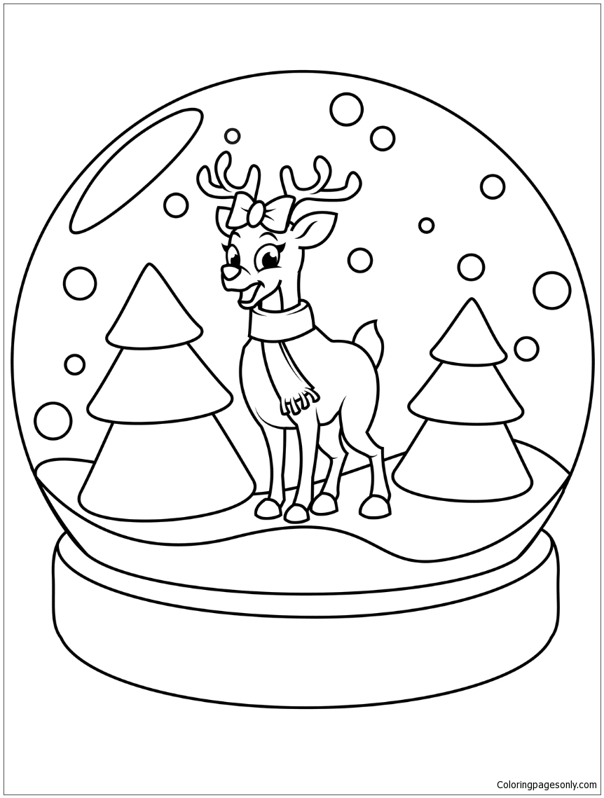 Christmas Snow Globe With Reindeer Coloring Page Free
