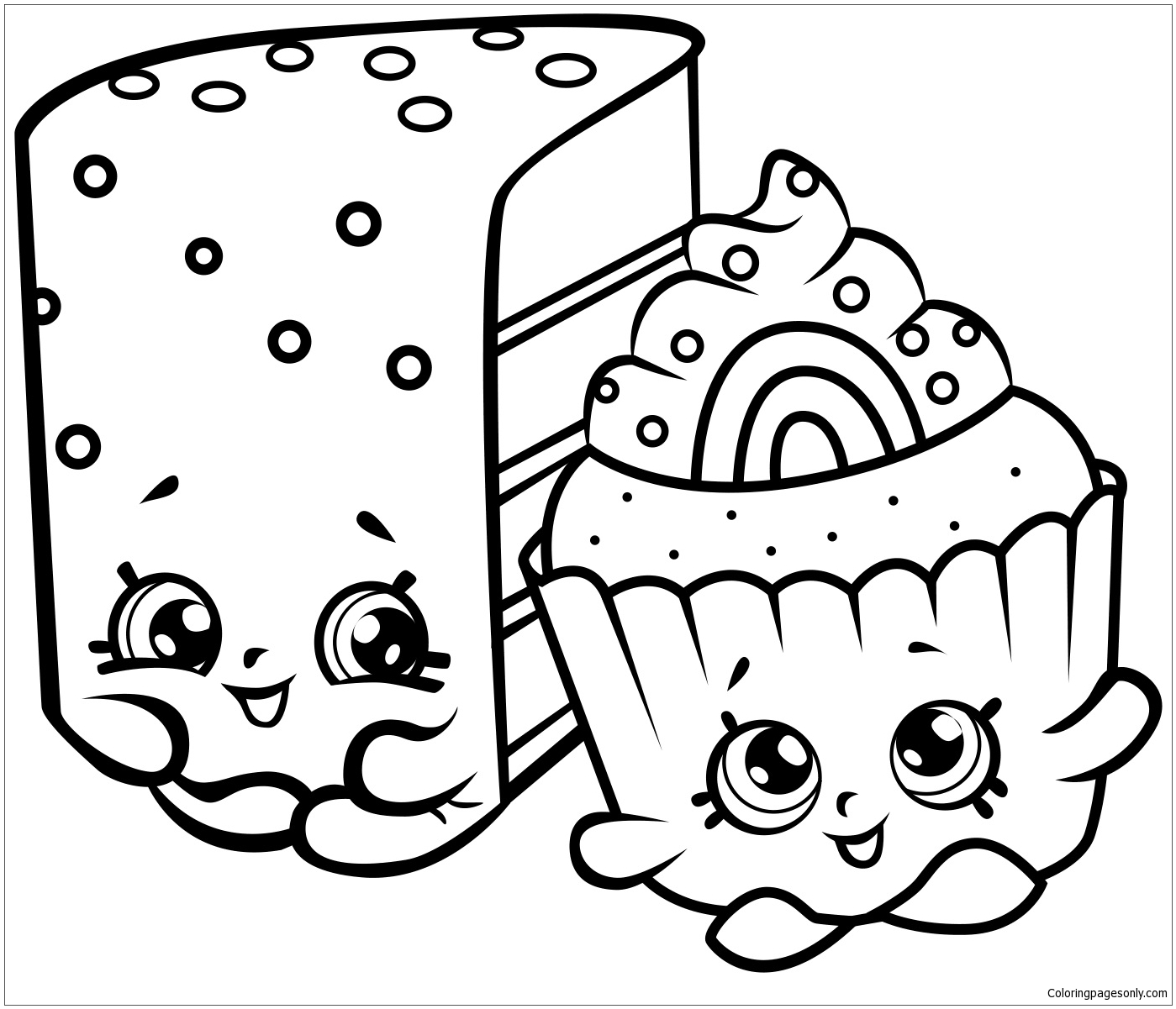 Cute Cakes Shopkins Coloring Page Free Coloring Pages Online