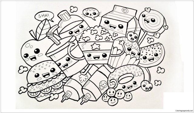 Cute Food Coloring Pages - Desserts Coloring Pages - Coloring