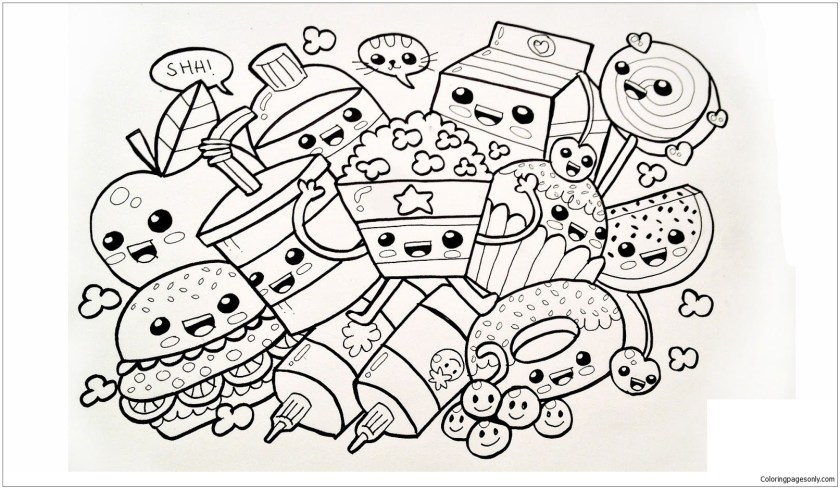 cute food coloring page  free coloring pages online