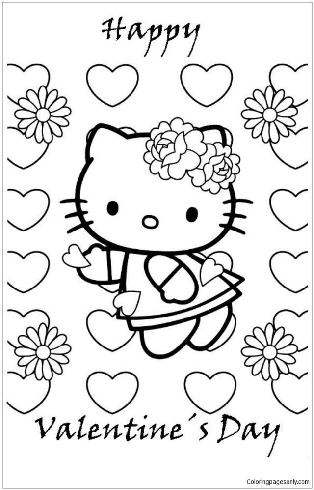 Cute Hello Kitty Happy Valentines Day Coloring Pages - Cartoons