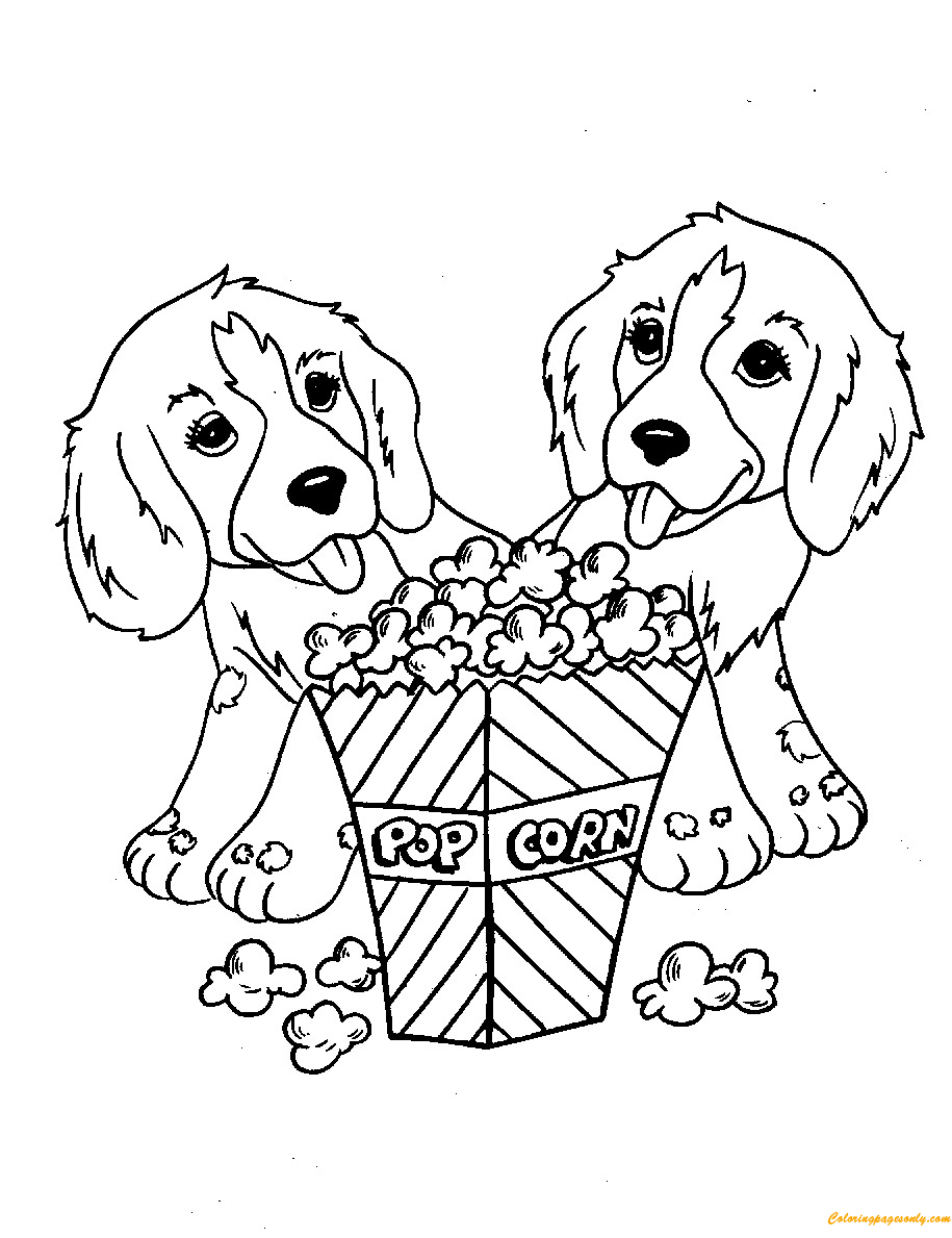 Dogs With Popcorn Coloring Page Free Coloring Pages Online