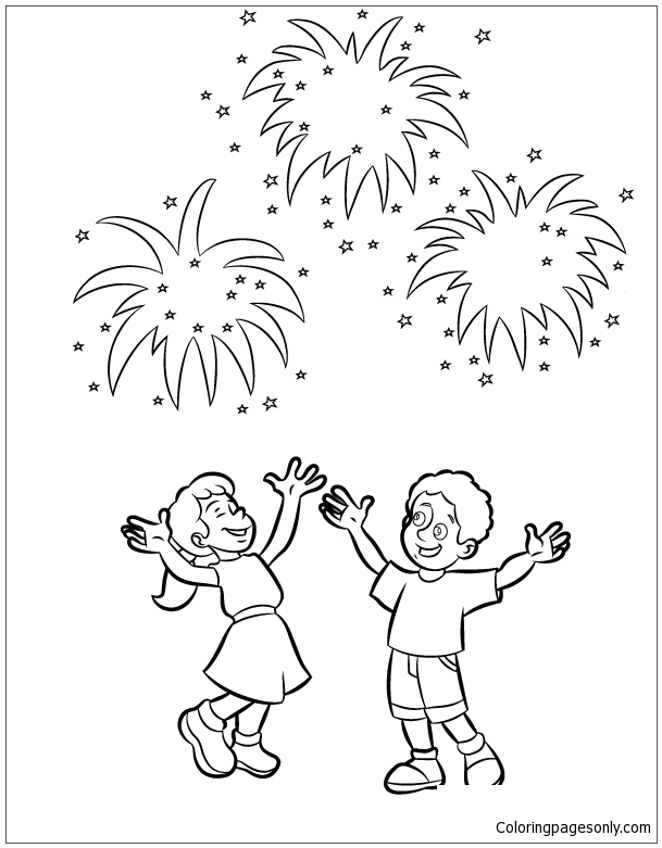 For Kids New Year Fireworks Coloring Page Free Coloring