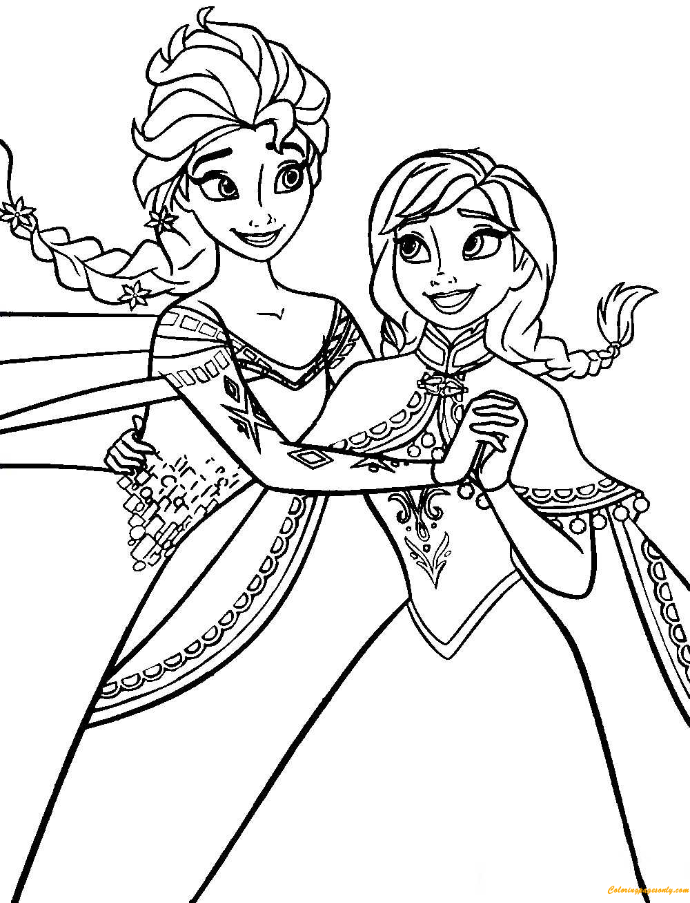 Frozen Anna And Elsa Coloring Page Free Coloring Pages Online