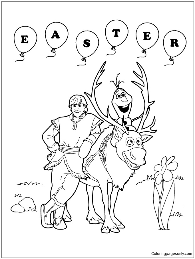 Frozen Sven Olaf And Kristoff Easter Coloring Page Free