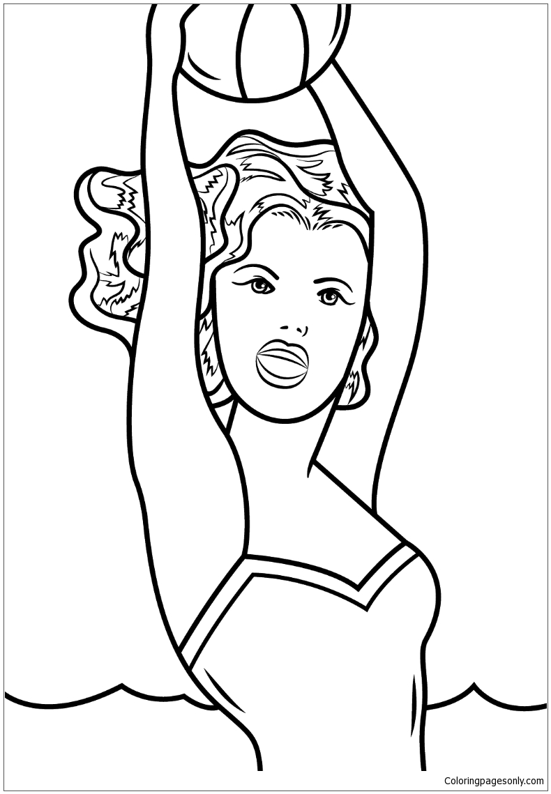 Girl With Ball By Roy Lichtenstein Coloring Page Free