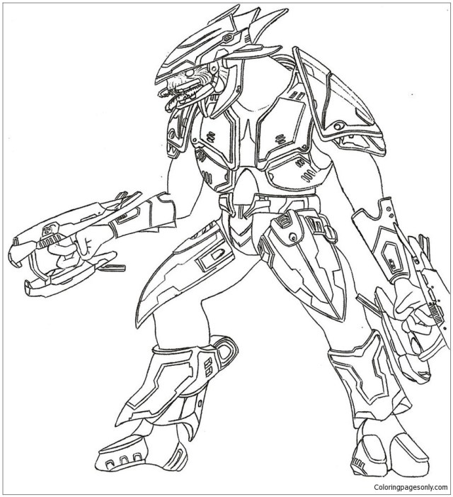 Halo 29 Elite Coloring Pages - Cartoons Coloring Pages - Coloring