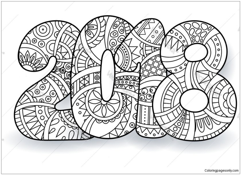 happy new year  coloring page  free coloring pages online