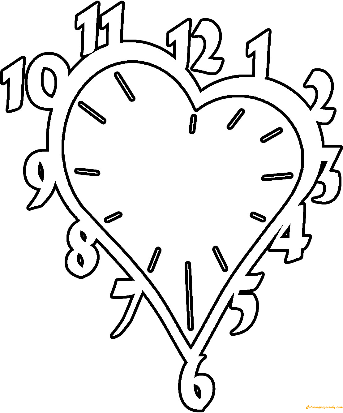 Heart Clock Coloring Page