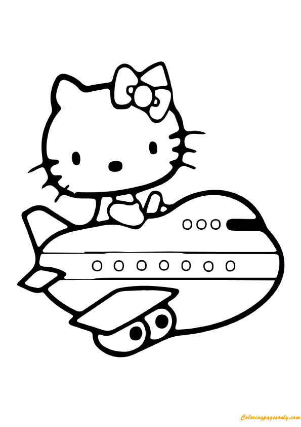 Hello Kitty Airplane Coloring Page Free Coloring Pages