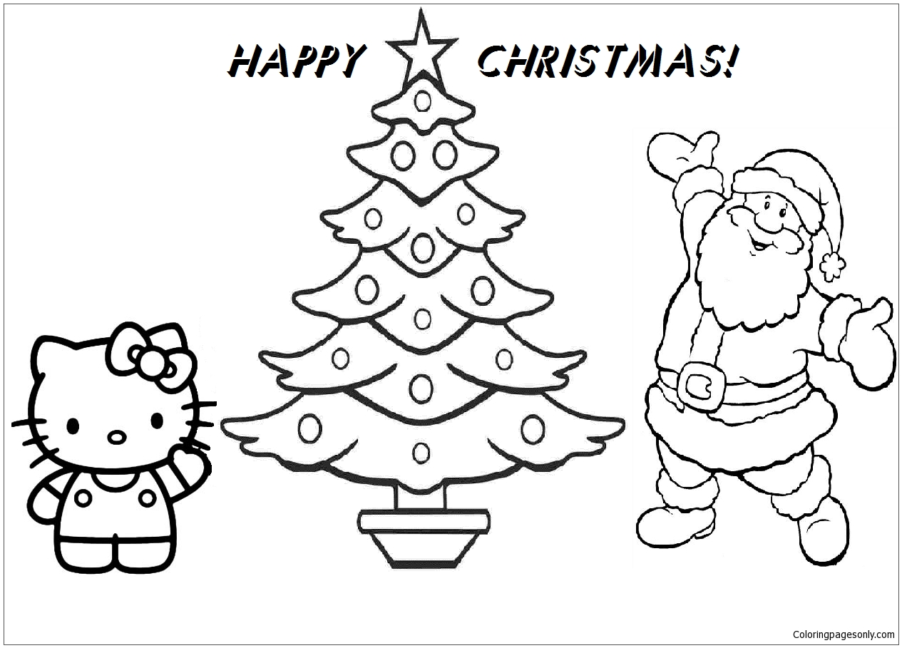 Hello Kitty And Santa Claus Happy Christmas Coloring Page