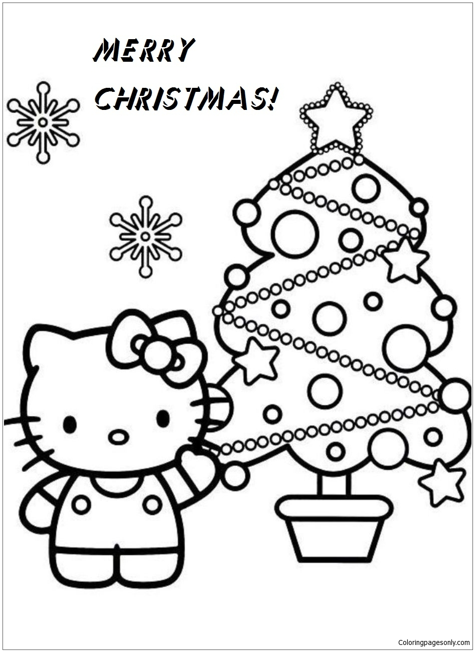 Hello Kitty Christmas Coloring Page Free Coloring Pages Online