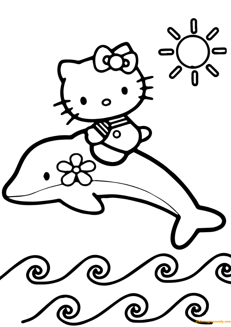 Hello Kitty Rides A Dolphin Coloring Page Free Coloring Pages Online