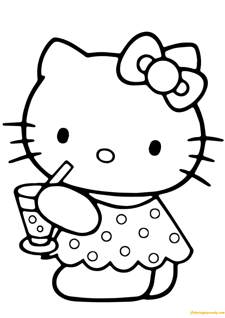 Hello Kitty Summer Coloring Page Free Coloring Pages Online