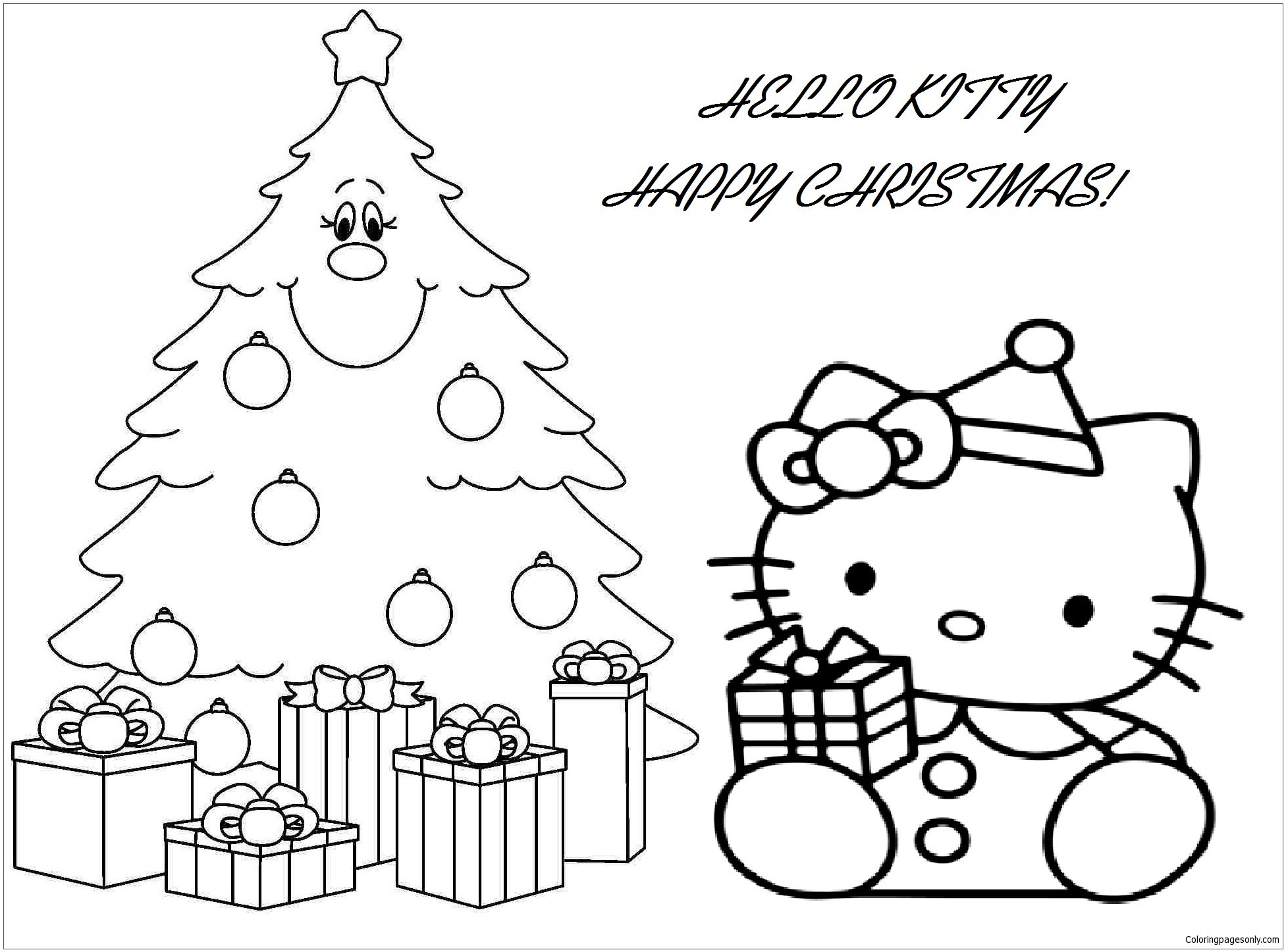 Hello Kitty With Christmas T Box And Christmas Tree