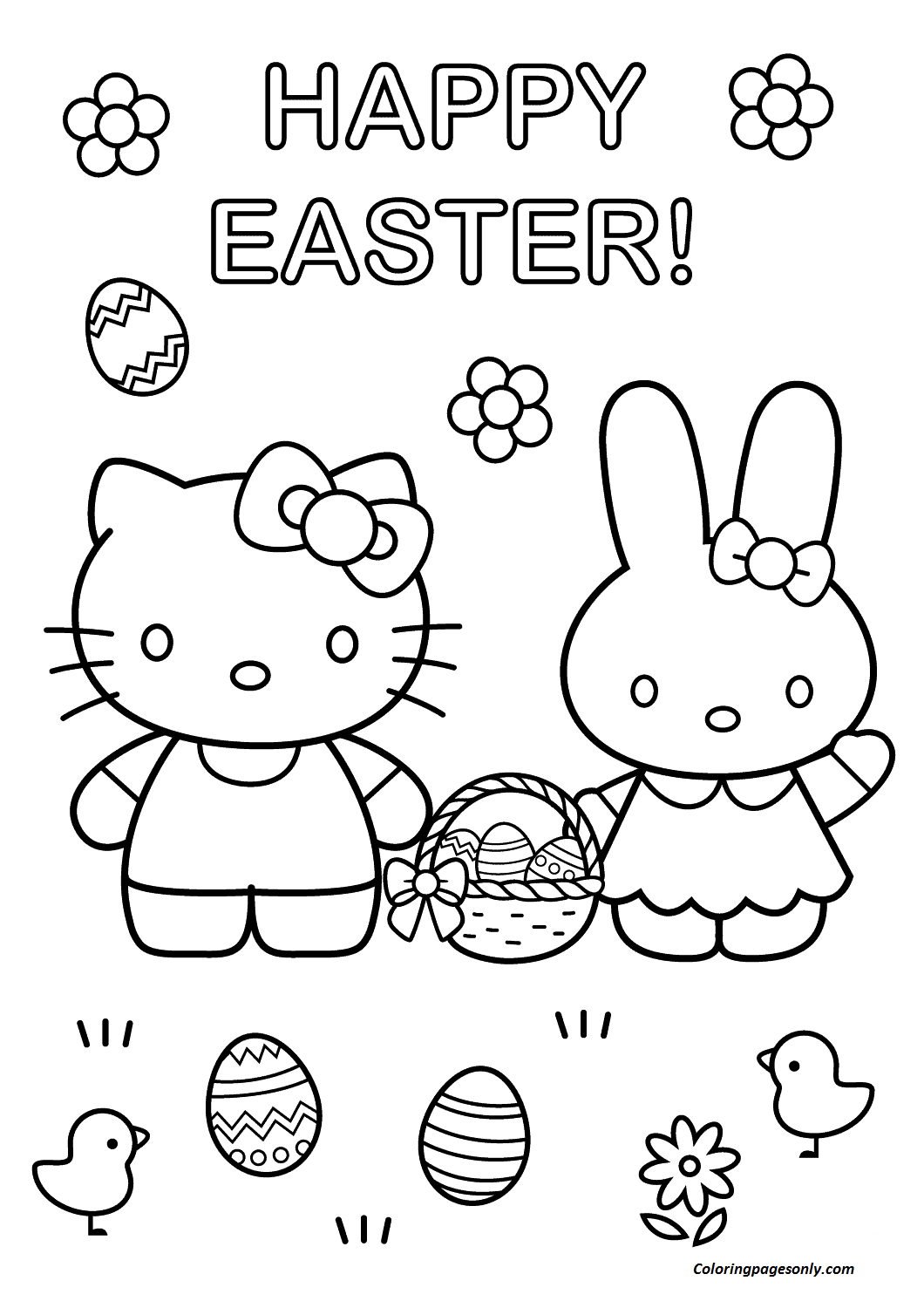 Hello Kitty With Easter Bunny Coloring Page Coloring Page