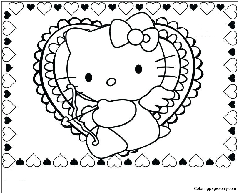 Hello Kitty Valentine Coloring Page Free Coloring Pages Online